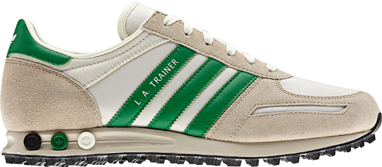 First produced in honour of the LA Olympics the LA is old school adidas at  its best. This was the first adidas trainer to use the patented peg  cushioning ... b3474e1b22b3
