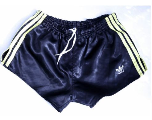 dark blue shiny vintage adidas shorts