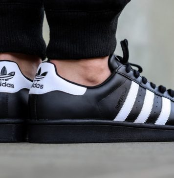 adidas superstar black white