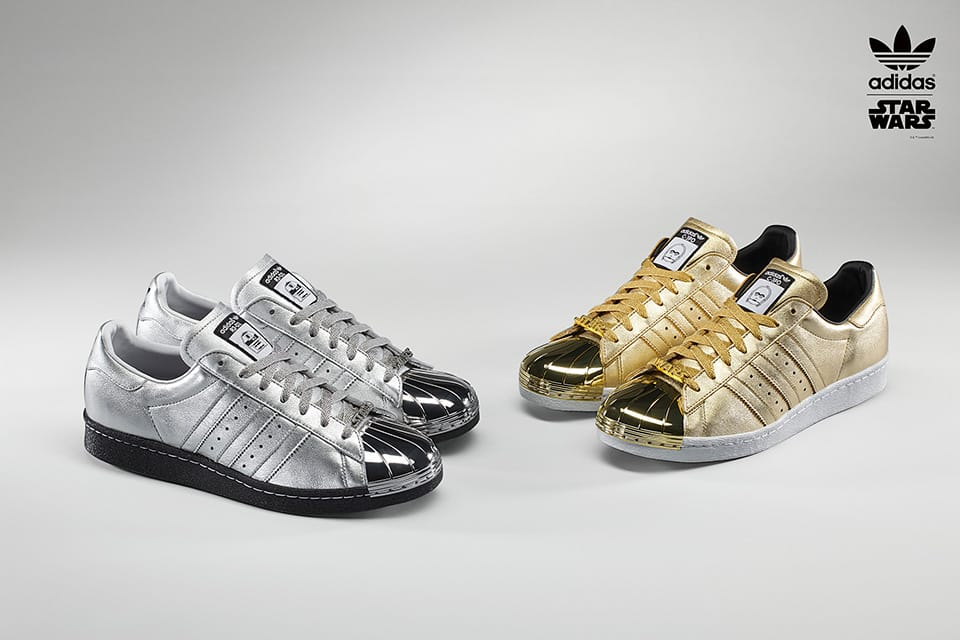 NEW Adidas superstar shoes (gold stripes, metallic