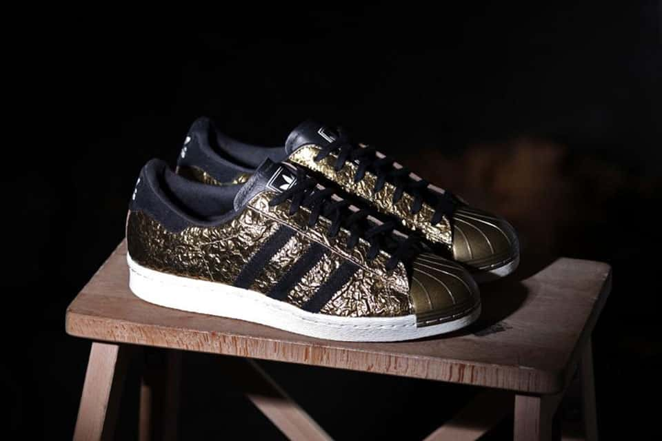 Womens Cheap Adidas Superstar Originals W Floral Black/Gold Shoes